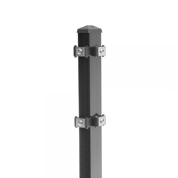 "Zaunpfosten Typ 6 - gekürzt anthrazit RAL 7016 | 630  | Eckpfosten ""rechts"""