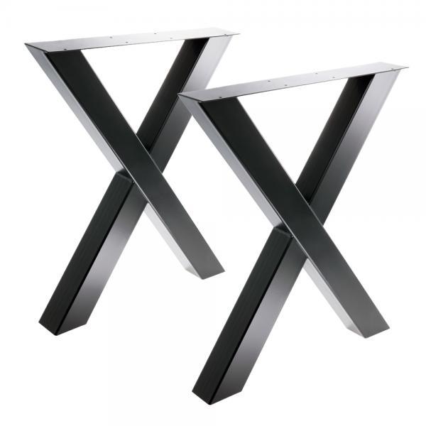 Tischgestell X 80/80 Schwarz matt