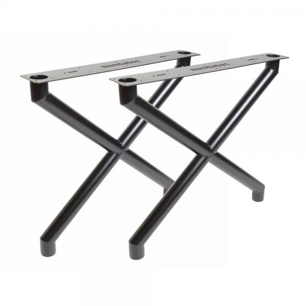 Tischgestell X 60er Rundrohr Schwarz matt